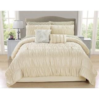 Greyson Ivory Ruched 10-piece Comforter Set