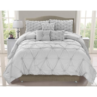 Cosmo Silver Mist 6-piece Smocked Comforter Set