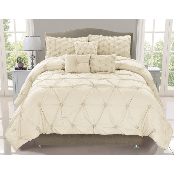 Cosmo Ivory Smocked 6-piece Comforter Set (As Is Item)