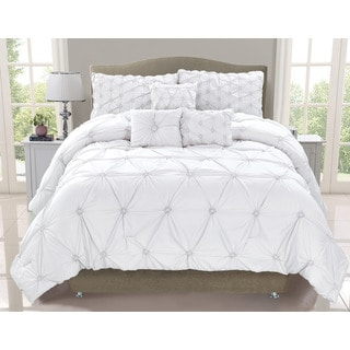 Cosmo White Smocked 6-piece Comforter Set