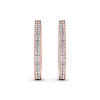 De Couer 10k Rose Gold 1/3ct TDW Diamond Hoop Earring (H-I, I2)
