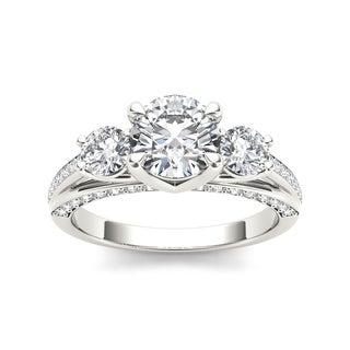 De Couer 14k White Gold 1 3/4ct TDW Diamond Three-Stone Anniversary Ring (H-I, I2)