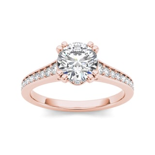 De Couer 14k Rose Gold 1 1/2ct TDW Diamond Classic Engagement Ring (H-I, I2)