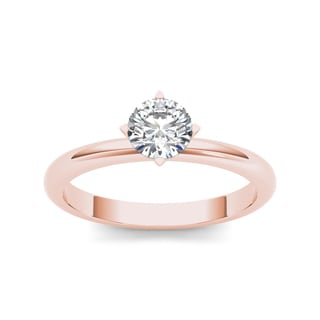 De Couer 14k Rose Gold 3/4ct TDW Diamond Classic Engagement Ring (H-I, I2)