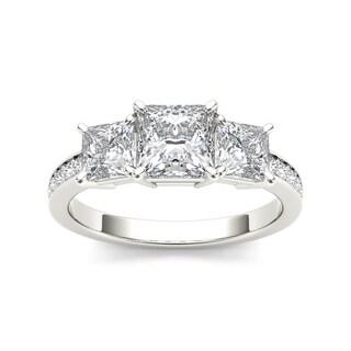 De Couer 14k White Gold 2ct TDW Diamond Three-Stone Anniversary Ring