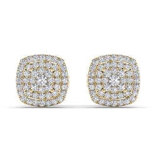 De Couer 10k Yellow Gold 1/3ct TDW Diamond Halo Stud Earring (H-I, I2)
