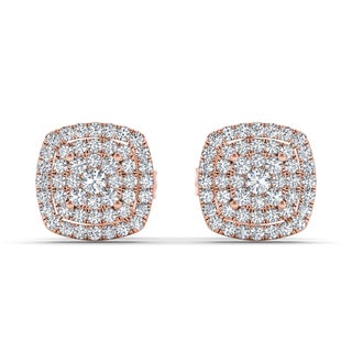 De Couer 10k Rose Gold 1/3ct TDW Diamond Halo Stud Earring (H-I, I2)