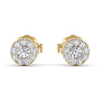 De Couer 10k Yellow Gold 1/3ct TDW Diamond Cluster Stud Earring (H-I, I2)