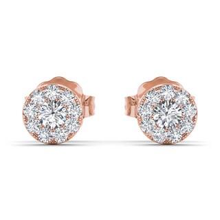 De Couer 10k Rose Gold 1/3ct TDW Diamond Cluster Stud Earring (H-I, I2)