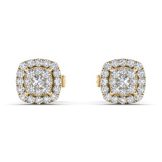 De Couer IGI Certified 10k Yellow Gold 1/4ct TDW Diamond Halo Cluster Earring