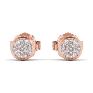 De Couer 10k Rose Gold 1/10ct TDW Diamond Cluster Earring (H-I, I2)