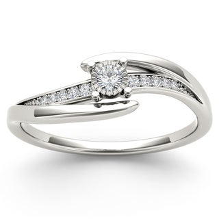 De Couer 10k White Gold 1/10ct TDW Diamond Criss-Cross Engagement Ring (H-I, I2)