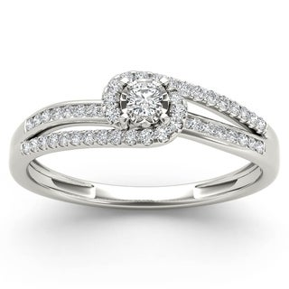 De Couer 10k White Gold 1/5ct TDW Diamond Bypass Cluster Engagement Ring (H-I, I2)