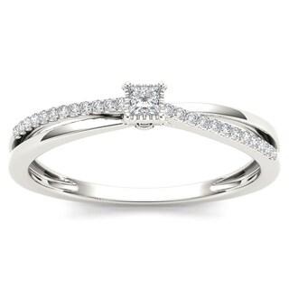 De Couer 10k White Gold 1/8ct TDW Diamond Split-Shank Engagement Ring (H-I, I2)