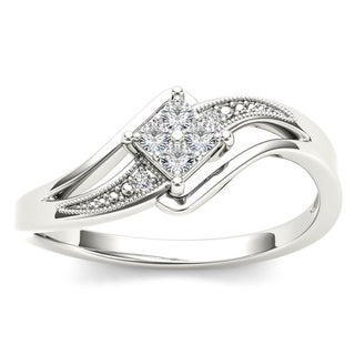 De Couer 10k White Gold 1/10ct TDW Diamond Bypass Engagement Ring (H-I, I2)