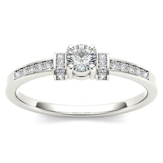 De Couer 10k White Gold 1/4ct TDW Diamond Classic Engagement Ring (H-I, I2)