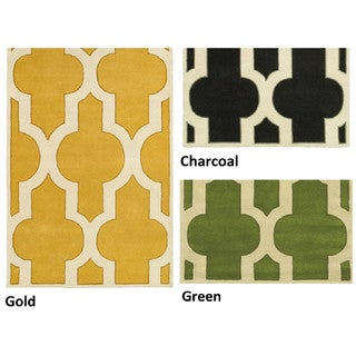 Rizzy Home Volare Collection Hand-tufted Ikat Wool Grey/ Green/ Gold Rug (9' x 12')