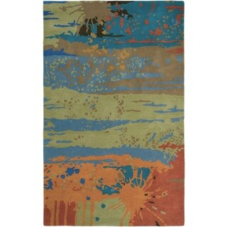 Rizzy Home Volare Collection Hand-tufted Abstract Wool Blue/ Green Rug (9' x 12')
