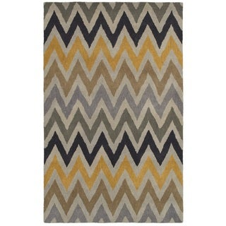 Rizzy Home Volare Collection Hand-tufted Stripe Wool Beige/ Grey Rug (8' x 10')