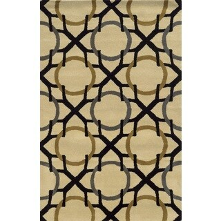 Rizzy Home Volare Collection Hand-tufted Geometric Wool Beige/ Black Rug (9' x 12')