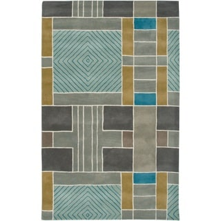 Rizzy Home Volare Collection Hand-tufted Geometric Wool Blue/ Grey Rug (9' x 12')