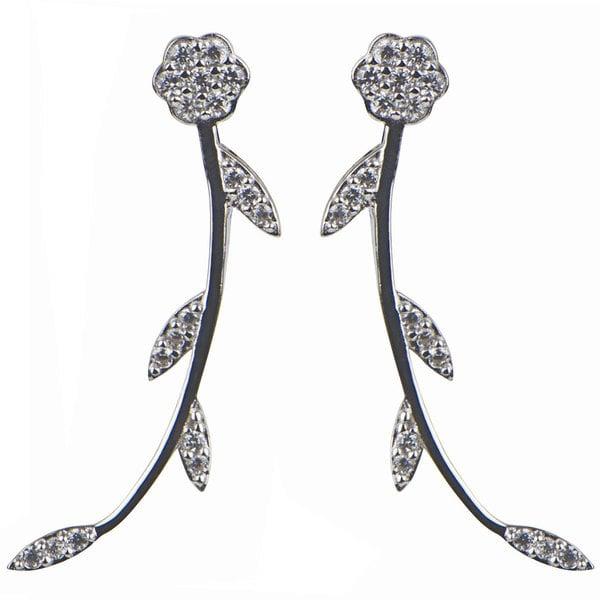 Sterling Silver Flower Cubic Zirconia Cuff Earrings