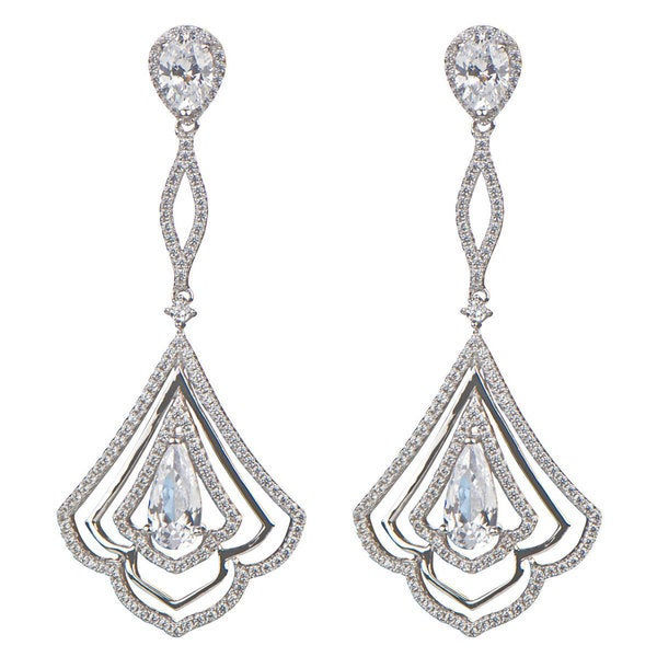 Sterling Silver Cubic Zirconia Art Deco Dangle Earrings