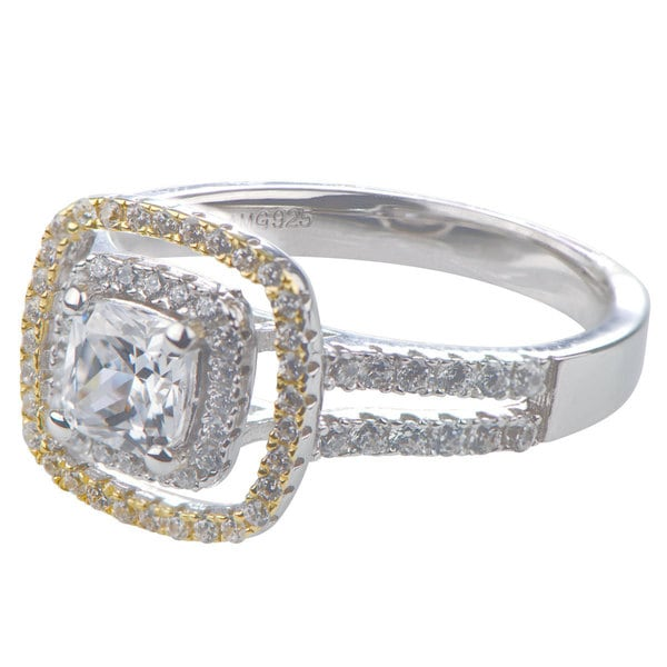 Sterling Silver Cushion Cut Two Tone Halo Engagement Ring