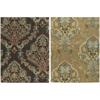 Rizzy Home Volare Collection Hand-tufted Trellis Wool Brown Rug (9' x 12')