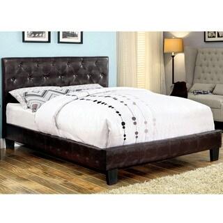 Furniture of America Huntress IV Brown Crocodile Leatherette Button Tufted Platform Bed