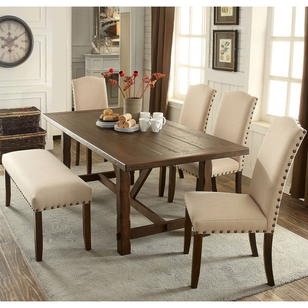 Furniture of America Felicity 6-piece Rustic Walnut Dining Set