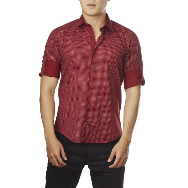 Decaprio Men's Long Sleeve Red Polka Dot Button-Down Shirt