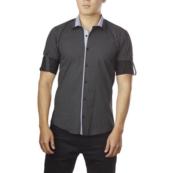 Decaprio Men's Long Sleeve Black Polka Dot Button-Down Shirt