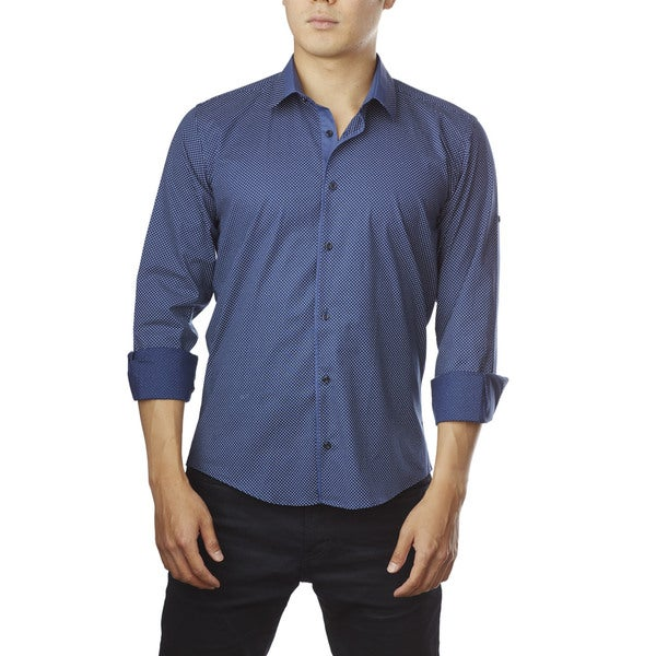Decaprio Men's Long Sleeve Navy Polka Dot Button-Down Shirt
