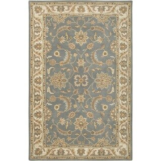 Rizzy Home Volare Collection Hand-tufted Border Wool Grey/ Brown Rug (8' x 10')