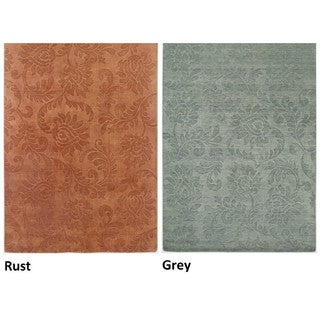 Rizzy Home Uptown Collection Handmade Solid Wool Grey/ Rust Rug (10' x 14')