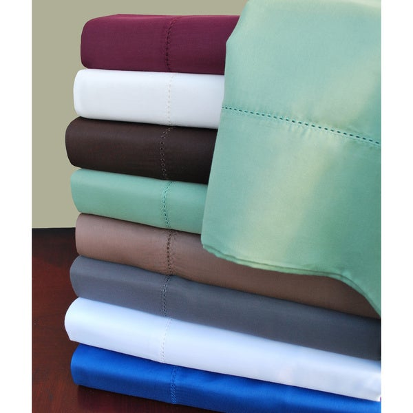 Luxor Treasures 600 TC Cotton Rich 6-piece Hem Stitch Sheet Set with Bonus Pillowcases