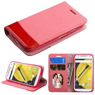 Insten Leather Wallet Flap Pouch Phone Case Cover with Stand/ Photo Display For Motorola Moto E 2nd Gen