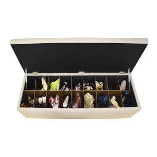 The Sole Secret Beige Button Tufted Shoe Storage Bench