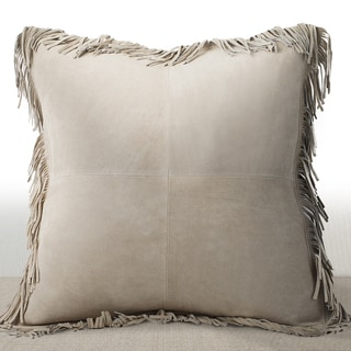 Chauran Coronado Sand Suede Feather and Down-filled 20-inch Luxury Pillow with Fringe Border