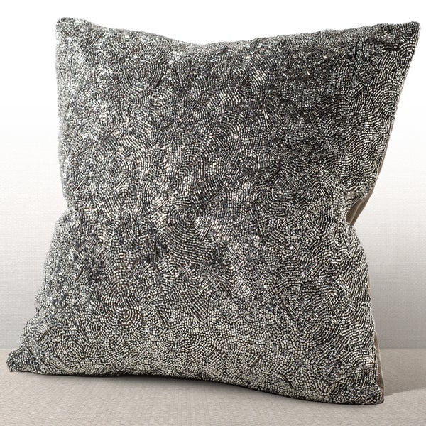 Gatsby Silver 16-inch Feather and Down-filled Beaded Pillow with Suede Back