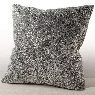 Chauran Gatsby Silver Feather and Down-filled 16-inch Beaded Pillow with Suede Back