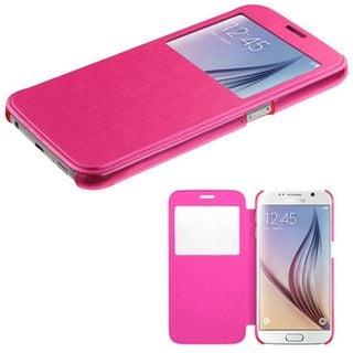 Insten Slim Leather Folio Flip Fabric Phone Case Cover with Half-window For Samsung Galaxy S6