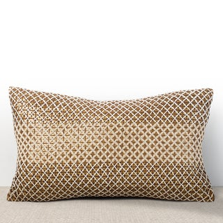 Vivante Cognac Sequined Lumbar Feather and Down-filled Pillow with Hand Stitched Embroidery