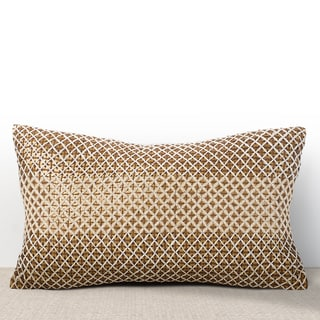 Chauran Vivante Cognac Sequined Lumbar Feather and Down-filled Pillow with Hand Stitched Embroidery