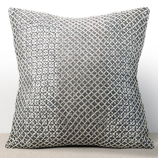 Chauran Vivante Mist Sequined Feather and Down-filled 16-inch Pillow with Hand Stitched Embroidery