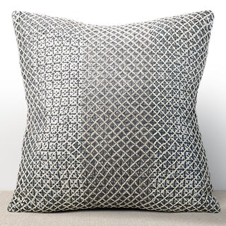 Vivante Mist 16-inch Sequined Feather and Down-filled Pillow with Hand Stitched Embroidery