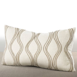 Cirque Ivory Lumbar Feather and Down Pillow with Hand-applied Beaded Leather Cord