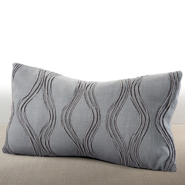 Cirque Mist Linen Lumbar Feather and Down-filled Pillow with Hand-applied Beaded Leather Cord