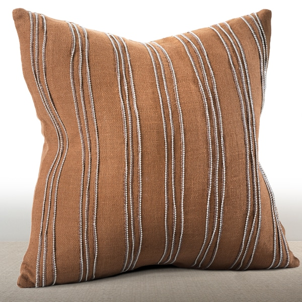 Cirque Cognac Feather and Down-filled Linen 16-inch Pillow with Hand-applied Beaded Leather Cord